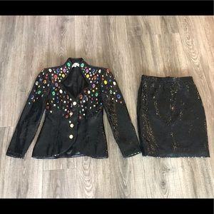 Lillie Rubin Sz 6 Sequin jacket & skirt jeweled 80